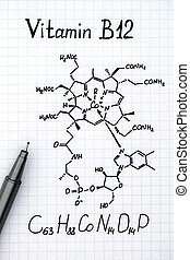 Chemical formula of Vitamin B12 with pen