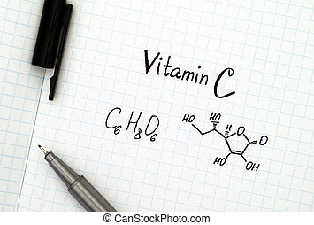 Chemical formula of Vitamin C with pen