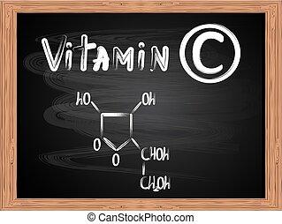 Chemical formula of vitamin C written on the blackboard