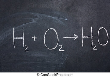 Chemical formula of water drawn on blackboard by chalk