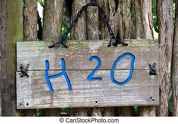 Chemical formula of water - H2O sign