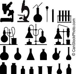 chemical glassware icons set. The test tube beaker flask