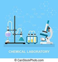 Chemical glassware, laboratory.