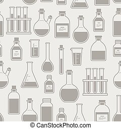 chemical glassware seamless pattern