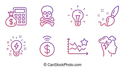 Chemical hazard, Inspiration and Contactless payment icons set. Finance calculator, Paint brush and Idea signs. Vector