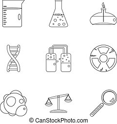 Chemical icon set, outline style