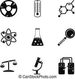 Chemical icon set, simple style