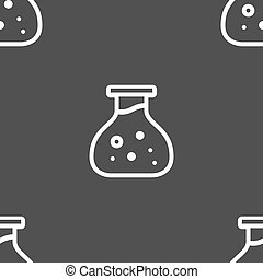 Chemical Icon sign. Seamless pattern on a gray background. Vector