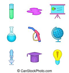 Chemical icons set, cartoon style