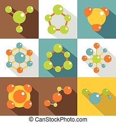 Chemical icons set, flat style