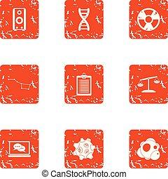 Chemical improvement icons set, grunge style