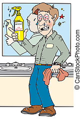 chemical in eyes - A custodian accidentally spraying a glass...