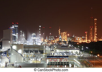 Chemical industrial - Night scene of chemical plant ,...