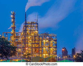 Chemical industry at sunset - Heavy chemical industry at...
