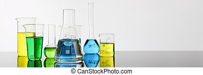 Chemical industry bulb with blue magenta