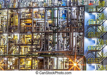 Chemical industry factory details at night