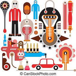 Chemical industry - vector illustration on white background.