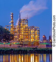 Chemical industry in the evening - Evening scene of Heavy...