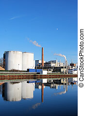 Chemical industry plant - Chemical plant with reflection on...
