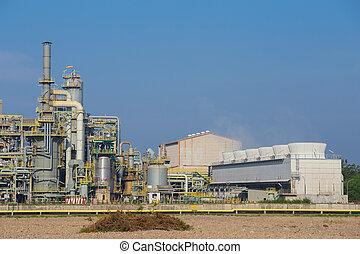 chemical industry plant with cooling tower, Thailand -...
