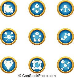 Chemical knowledge icons set, flat style