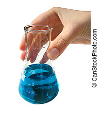 Chemical lab - flask - Laborant\'s hand holding flask with...