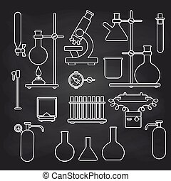 Chemical lab icons set on chalkboard