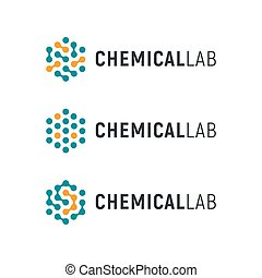 Chemical lab logo template. Abstract hexagon vector logotype. Biology hi-tech technology logos. Medical equipment