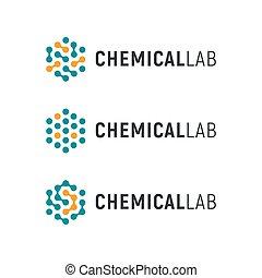 Chemical lab logo template. Abstract hexagon vector logotype. Biology hi-tech technology logos. Medical equipment