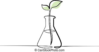 Chemical lab retort with sprout of plant
