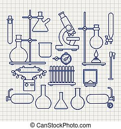 Chemical lab thin line icons set on notebook page, vector...