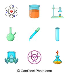 Chemical laboratory equipment icons set