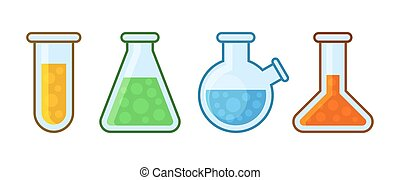 Chemical Laboratory Equipment Icons Set on White Background. Vector