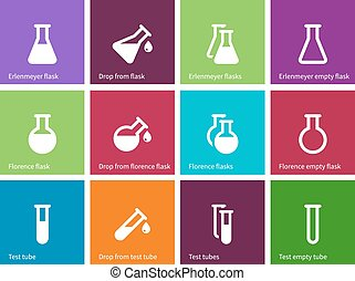 Chemical laboratory flask icons on color background.