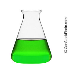 Chemical laboratory flask with green liquid isolated