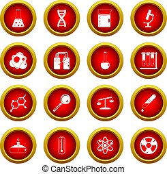 Chemical laboratory icon red circle set