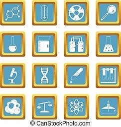 Chemical laboratory icons azure