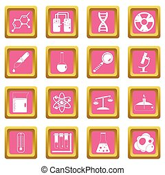 Chemical laboratory icons pink