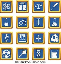 Chemical laboratory icons set blue