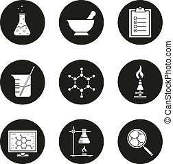 Chemical laboratory icons set