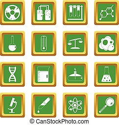 Chemical laboratory icons set green
