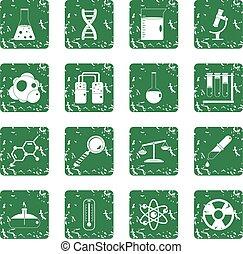Chemical laboratory icons set grunge
