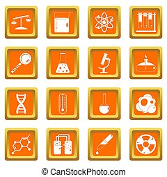 Chemical laboratory icons set orange