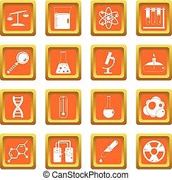 Chemical laboratory icons set orange