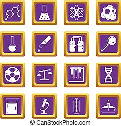 Chemical laboratory icons set purple