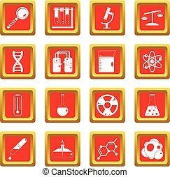 Chemical laboratory icons set red