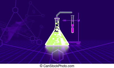"""Chemical laboratory in flasks connected with bulbs"""