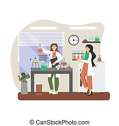 Chemical laboratory research. Scientists carrying out scientific experiment in science lab, flat vector illustration.