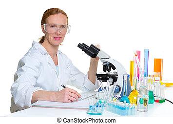 chemical laboratory scientist woman working portrait