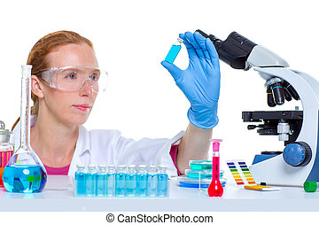 chemical laboratory scientist woman working with bottle